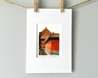 Architecture Photography, Rustic Red Miniature Art, Asian Art, Chinese Photography, Architecture Prints Asian Decor,5x7 Matted Red Wall Art