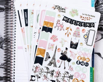 La Vie Est Belle Planner Sticker Kit, Planner Stickers, Weekly Kit, Planner Weekly Kit, Stickers Vertical Erin Condren 6Sheets/200+ Stickers