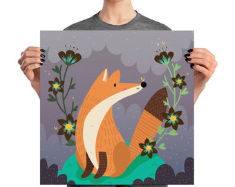 Fox and flowers Poster