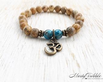 Om Bracelet, Jasper Bracelet, Apatite Bracelet, Mala Beads Bracelet, Gemstone Bracelet, Yoga Charms, Yoga Jewelry, Healing Crystal Bracelet