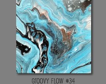 Groovy flux acrylique abstrait peinture #34 prêt à accrocher 10 x 10