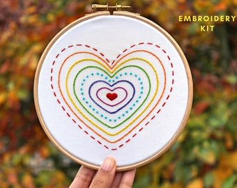 Rainbow Hearts Embroidery Kit- Hand Embroidery Kit- Beginner embroidery kit- Craft kit- Embroidery Hoop art- DIY kit- Rainbow gifts- lgbt