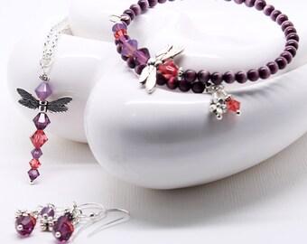 Purple Dragonfly Jewelry Set - Amethyst Crystals, Dangle Earrings, Pendant Necklace, Cats Eye Beaded Bracelet, 3 Piece Set
