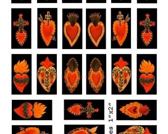 Corazones  Domino - 1x2 - Digital Collage Sheet - Instant Download