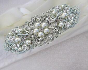 Bridal headband with Ribbon Pearls and crystal, wedding headband, bridal Hairpiece, pearl headpiece wedding hair accessories