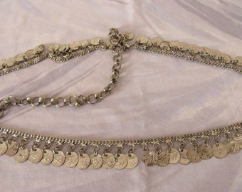 Vintage belly dancer coin belt silver tone gypsy dancing jingle jangle 102 cms 40 inches