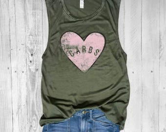CARBS HEART..Army Green, Flowy Muscle Tee, Workout Top, Muscle Tank, Pizza, Funny Shirt, Graphic Muscle Tee, Tacos, Margarita, Food