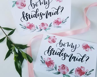 Bridal Party Card Pack - Will you be my bridesmaid, floral 5x7 card,  instant download, digital download, maid matron of honor flower girl