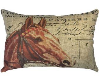 French Horse Throw Pillow, Cottage Linen Lumbar Pillow, Rustic