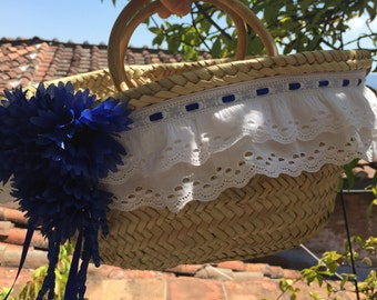 Straw bag with blue trim