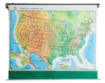 DISCOUNTED Vintage 1960s America Pull Down Map