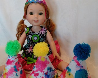 "14.5"" doll party hats, set of 4, made to fit wellie wishers and glitter girls"