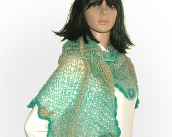 Freeform Knitted Shawl, Turquoise Freestyle knitted Womens scarf shawl wrap Stole with OOAK freeform crochet motifs & glass beads