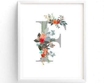 Letter F, Wildflower Floral, Printable Letter Monogram, Nursery Art. Art Prints, Baby Girl Nursery, Wall art Prints