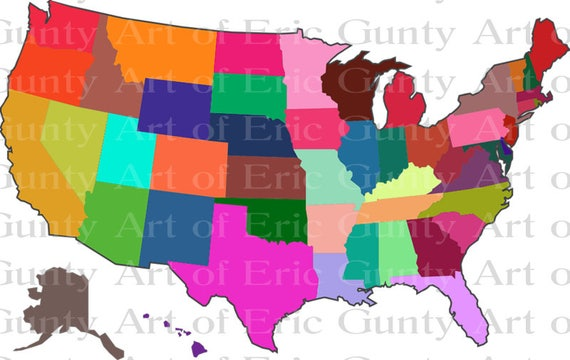 US Map Multi-colored Birthday - Edible Cake and Cupcake Topper For Birthday's and Parties! - D22938