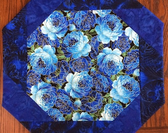 Spring Table Topper, Octagonal, Spring Blue Blossoms, Blue Floral Topper, Mother's Day, Wedding Gift Idea