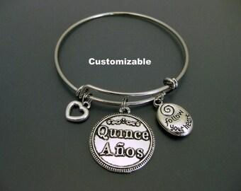 15th Birthday Bangle / Quinceañera Bracelet Bangle / Charm Bracelet / Adjustable Bangle / Expandable Bracelet / Fiesta de Quince Años