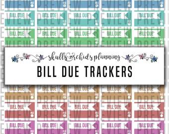 Bill Due Trackers - PRINTABLE Functional Stickers for Erin Condren, Happy Planner, etc.