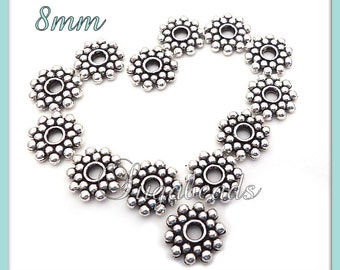 75 Bali Style Antiqued Silver Daisy Spacers 8mm DS3 - Antique Silver Snowflake Spacers