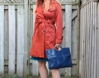 1990s Trench Coat - Short Raincoat - Rust Orange - Bold Statement Coat -  Bebe - Spring Summer Light Coat - Size Small
