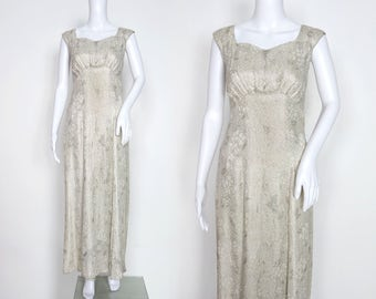 1930s Silver and Ivory Lamé Gown