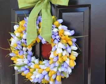 SPRING WREATH SALE Spring Wreath, Tulip Wreath, Spring Decoration, Door Wreath for Spring Custom Size
