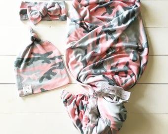 Pink Camo Baby Girl Swaddle Blanket Set - Newborn Pink Camo Blanket/Hat/Headwrap - Adorable Pink Camouflage Baby Girl Swaddle Blanket