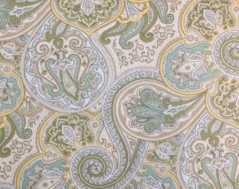 Green Paisley Cotton Twill Fabric