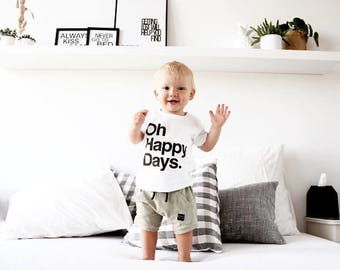 Hipster Kids Clothes - Trendy Kids Clothes - Cute Hipster Toddler Boy Clothes - Oh happy days. Typography Kids T-Shirt