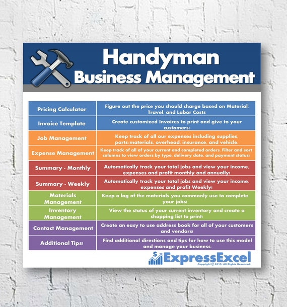 Handyman Repairman Business Management Software Job Pricing - Job invoice template word online bead stores