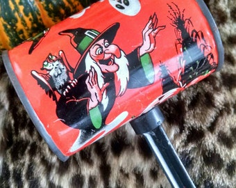 Vintage Halloween Rattle Noise Maker Barrel Witches Pumpkins Black Cats Ghosts Bats US Metal Toy Mfg Co