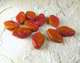 10 Autumn Fall Red Orange Carmel Orange Brown Leavees - Czech Glass Leaf jewelry beads 6mm x 10mm  - top drilled