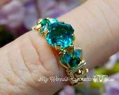 Blue Zircon Handmade Ring...