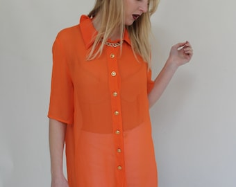 Vintage 90's Sheer Shirt S/M Women's Vintage Blouse Orange Blouse Sheer Blouse