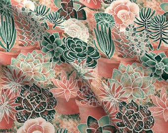 Southwestern Succulent Fabric - Succulent Garden By Nadja Petremand - Summer Succulent Home Decor Cotton Fabric By The Yard With Spoonflower