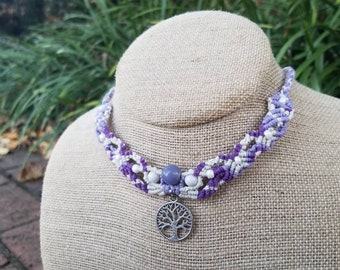 Tree of Life Hemp Necklace White and Purple, Glass Beads, Adjustable