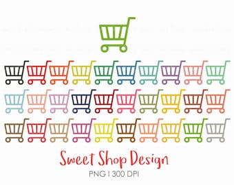 Shopping Cart Clip Art, Shopping Clip Art, Planner Stickers, Royalty Free Clip Art, Instant Download