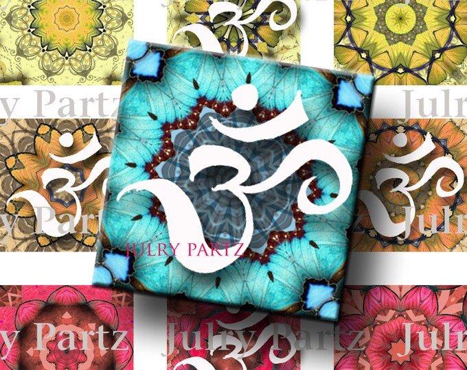 OM Chakra Mandalas 1x1 Square,Printable Digital Image,Digital Collage,Healing Mandalas,Magnets,Gift Tags,Scrabble Tiles,Yoga, Meditation