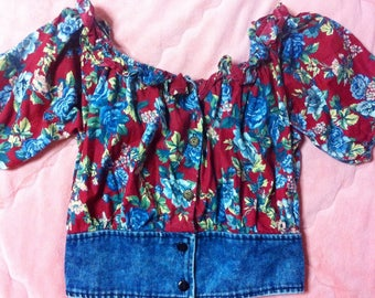 90s Vintage Denim Floral Crop Top, Vintage Floral Off Shoulder Crop Top, 90s Vintage Floral Crop Top, Floral Crop Top Shirt