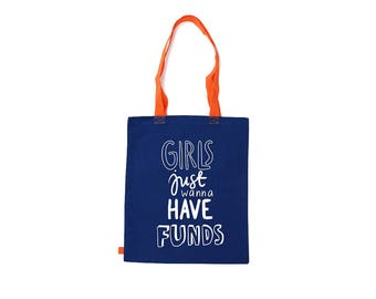 Girls Just Wanna Have Some Fun Shopping Bag Printed Red White Lime Blue Black Pocket Famme Music