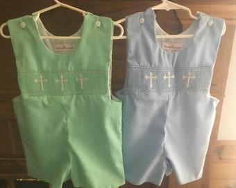 Hand smocked romper with white crosses
