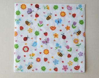 2 multicolor mini-fleurs/mini-insectes paper napkins