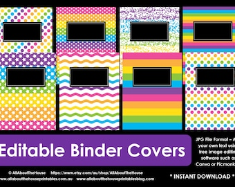 EDITABLE  Printable binder cover notebook planner cover school recipe college household rainbow girl preppy polka dot stripes confetti