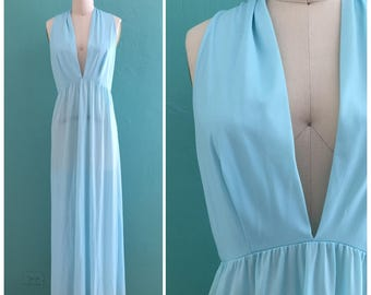 70's baby blue slip dress // plunging neck open back night gown