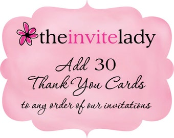 Thank You Card Add On - Set of 30 Matching Thank You Notes with Envelopes