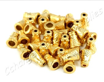 10 pcs Gold Cone Caps, (11mm x 8mm) Gold Bead Caps, 24k Matte Gold Plated End Caps, Metal Gold Cone Bead Caps, Gold Bead Caps / GPY-329