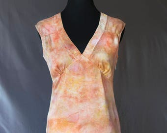 Silk Top Hand-dyed, Plant-dyed with Beauty Heart Radish and Tumeric, Size Medium, No synthetic dyes or heavy metal mordants used