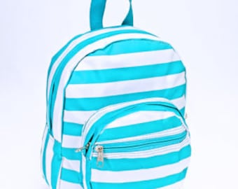 Personalized Preschool Backpack with Turquoise Stripes