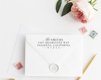 Custom Return Address Stamp, Self Ink Return Address Stamp, Return Address Calligraphy Address Stamp Return Address Stamp No95