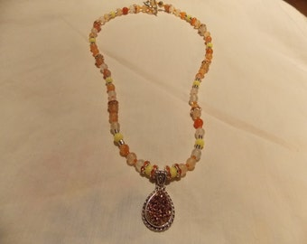 Hand made one of a kind Necklace Druzy